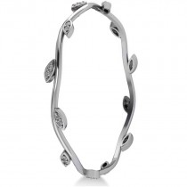 Stackable Diamond Vine Leaf Bangle Bracelet 14k White Gold (0.72ct)