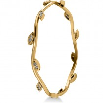 Stackable Diamond Vine Leaf Bangle Bracelet 14k Yellow Gold (0.72ct)