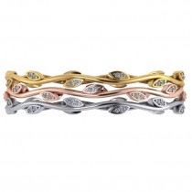 Stackable Diamond Vine Leaf Bangle Bracelet 14k Yellow Gold (0.72ct)