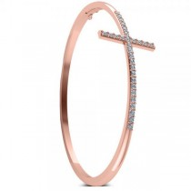 Diamond Religious Cross Bangle Bracelet in 14k Rose Gold (0.87ct)