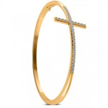 Diamond Religious Cross Bangle Bracelet in 14k Yellow Gold (0.87ct)