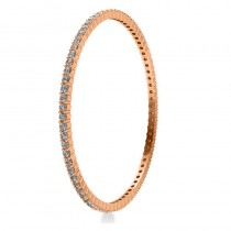 Stackable Diamond Bangle Eternity Bracelet 18k Rose Gold (5.18ct)