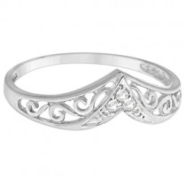 Antique Style Chevron Diamond Ring 14k White Gold (0.05ct)|escape