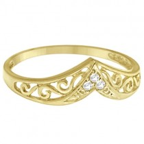Antique Style Chevron Diamond Ring 14k Yellow Gold (0.05ct)