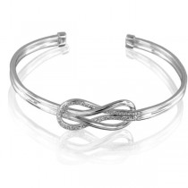 Diamond-Accented Sterling Silver Love Knot Bangle (0.02ctw)