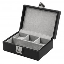 Leather Pigskin Lined Jewelry Case w/ Dividers & Slots for Cufflinks