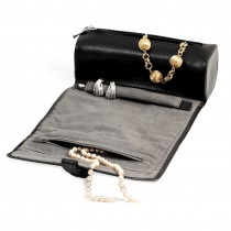 Leather Magnetic Clasp Jewelry Roll w/ Zippered Compartments