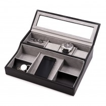 Leather Valet Watch Box For 3 Watches w/ Slots for Cufflink