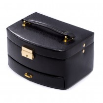 Black Leather 2 Level Jewelry Case w/ Drawer and Mirror