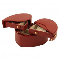 Red Leather Heart Shaped Jewelry Box w/ Multiple Compartments