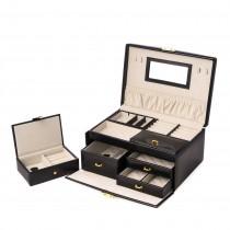 Black Leather 2 Level Jewelry Box w/ 3 Drawers, Tray & Mirror