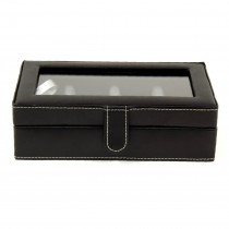 Velour Lined Leather 12 Cufflink Box with Glass Top