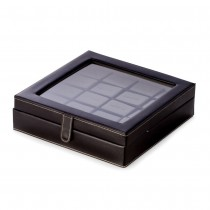 Black Leather 20 Cufflink Box with Glass Top and Snap Closure|escape