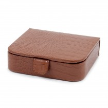 Croco Leather Jewelry Case with Snap Closure