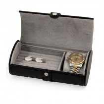 Leather Watch & Cufflink Travel Case with Snap Closure