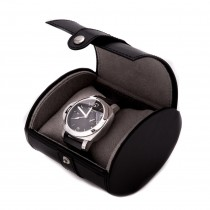 Black Leather Single Watch Travel Case with Snap Closure