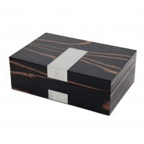 Ebony 4 Watch & 9 Cufflink Wood Valet Box w/ Stainless Steel Accent|escape