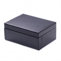 Black Leather Valet Box w/ Removable Tray for 4 Watches & 8 Cufflinks