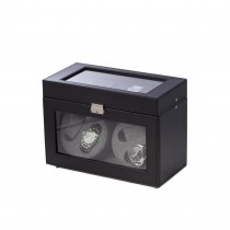 Black Leather 4 Watch Winder w/ 5 Watch Case, & Selectable Rotation|escape