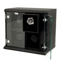 Black Leather Quadruple Watch Winder w/ Removable Winders