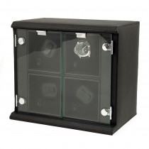 Black Leather Quadruple Watch Winder w/ Removable Winders|escape