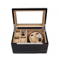 Ebony Burl Wood 2 Watch Winder w/ Storage for 4 Watches & Glass Top