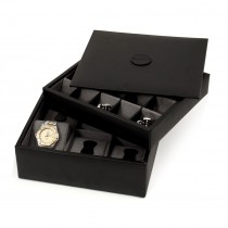 Leather Stacked Valet for 6 Watches and 20 Cufflinks with Lid