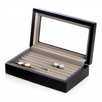 Matte Wood Cufflink Box with Glass Top and Velour Lining