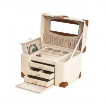 Ivory Leather 4 Level Compartment Jewelry Box w/ 3 Drawers, Case