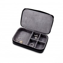 Leather Multi Compartment Jewelry Box with Zippered Closure