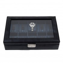 Leather 10 Watch Case with Glass Top and Locking Clasp