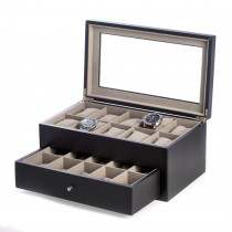 Matte Wood 20 Watch Box w/ Glass Top & Drawer & Pillows