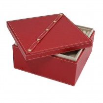 Studded Red Leather Two Level Jewelry Box w/ Removable Individual Tray
