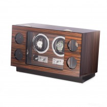Ebony Burlwood 2 Watch Winder and 4 Storage Case with Glass Face