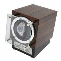 Ebony Burlwood Watch Winder w/ Glass Door & Selectable Rotation