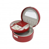 Red Leatherette Jewelry Box w/ Valet, Slots for Rings, & Compartments