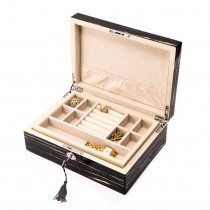 Lacquered Wood Jewelry Box with Valet Tray and Key Lock