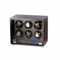 Carbon Fiber 6 Watch Winder w/ Glass Door & Selectable Rotation