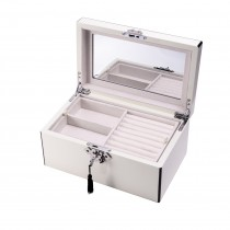 White Wood 3 Level Jewelry Box w/ Slots for Rings & Locking Clasp