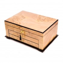 Birdseye Wood 3 Level Jewelry Box w/ Gold Accent & Locking Lid