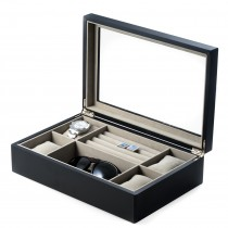 Matte Wood Valet & Watch Box w/ Glass Top & 4 Watch Pillows