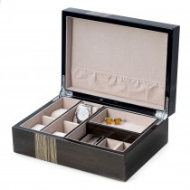 Ash Wood Valet Box w/ Compartments, 4 Watch Pillow & Removable Tray