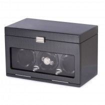 Carbon Fiber Steel Gray 3 Watch Winder w/ Settings for 12 Watches|escape