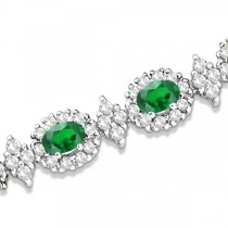 Emerald and Diamond Flower Fashion Bracelet 14k White Gold (10.40ct)