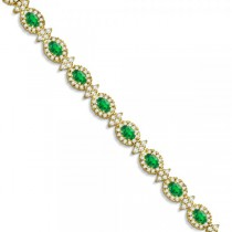 Emerald and Diamond Flower Fashion Bracelet 14k Yellow Gold (10.40ct)