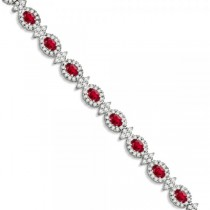 Ruby and Diamond Flower Fashion Bracelet 14k White Gold (11.92ct)