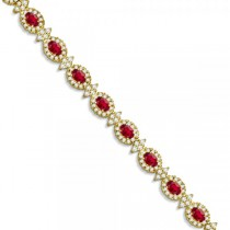 Ruby and Diamond Flower Fashion Bracelet 14k Yellow Gold (11.92ct)