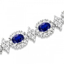 Blue Sapphire Diamond Flower Fashion Bracelet 14k White Gold (11.92ct)