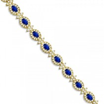 Blue Sapphire Diamond Flower Fashion Bracelet 14k Yellow Gold (11.92ct)