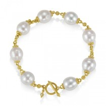 South Sea Cultured Pearl Bracelet Granulated Gold 14K Yellow (11mm)